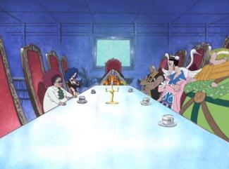 ワンピース(アラバスタ編)のテーブルに集まるバロックワークスの幹部たち